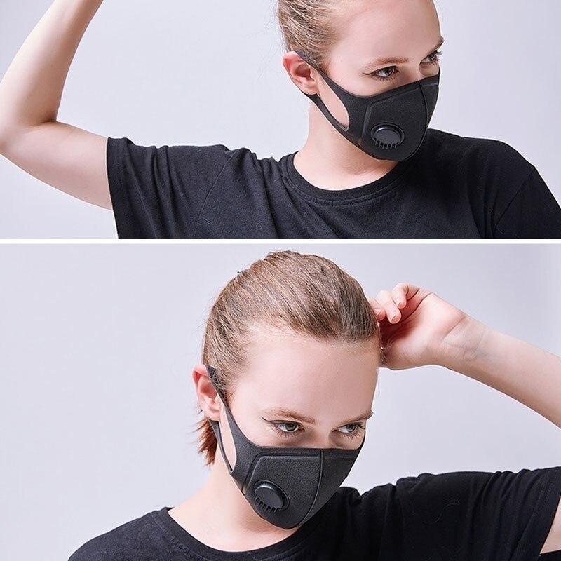 PM2.5 Mouth Mask Anti-dust Mask Anti-pollution Mask With Breathing Valve Anti-Virus Influenza Washable Mouth Face Masks
