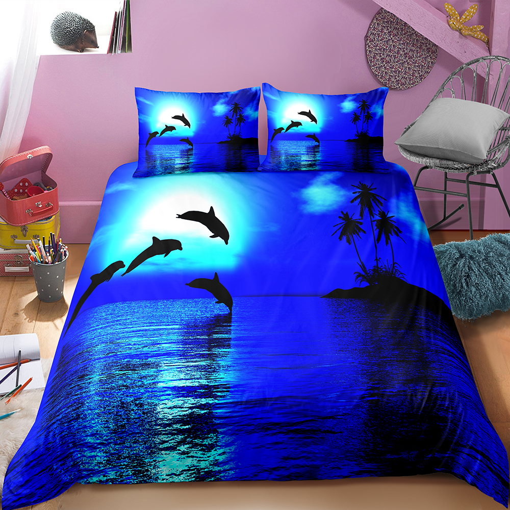Fanaijia King Size Bedding Sets Luxury Dolphin Printed Duvet Cover Set With Pillowcase Comforter Cover