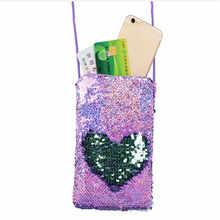 Sac à main à paillettes pour filles, sac à bandoulière pour téléphone, Mini sacoche de dessin animé, pochette, petit porte-monnaie pour enfants