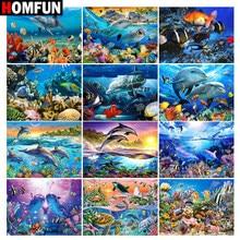 Алмазная живопись HOMFUN «сделай сам», картина с дельфином, океаническим пейзажем, алмазная вышивка 5D с квадратными и круглыми стразами, украш...