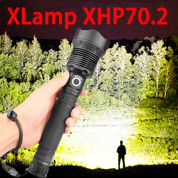 ZK20 Dropshipping XHP50/HP70 LED Flashlight High Lumens Aluminum Alloy Adjustable Focus USB Rechargeable Power and held Light