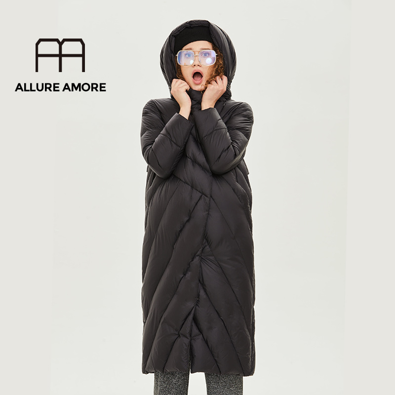 AllureAmore Winter Duck Down Jacket Women Long Coat Warm Parkas Thick Female Warm Clothes  High Quality