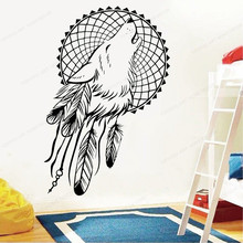 Wolf and Feathers Wall Vinyl Decal Dream Wall Sticker catcher window home wall decor removable poster JH74 arrow wall decal dreamcatcher vinyl wall sticker bohemian design bedroom decor dream catcher feathers symbol wall mural ay1451