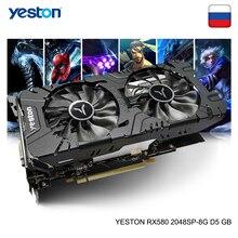 Yeston Radeon RX 580 GPU 8 กิกะไบต์ GDDR5 256bit เล่นเกมสก์ท็อปคอมพิวเตอร์พีซีวิดีโอกราฟิกการ์ดสนับสนุน DVI D/HDMI/DP PCI E x16 3.0
