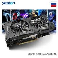Yeston Radeon RX 580 GPU 8GB GDDR5 256bit Escritorio de Juegos de ordenador vídeo de PC tarjetas gráficas apoyo DVI-D/HDMI/DP PCI-E X16 3,0