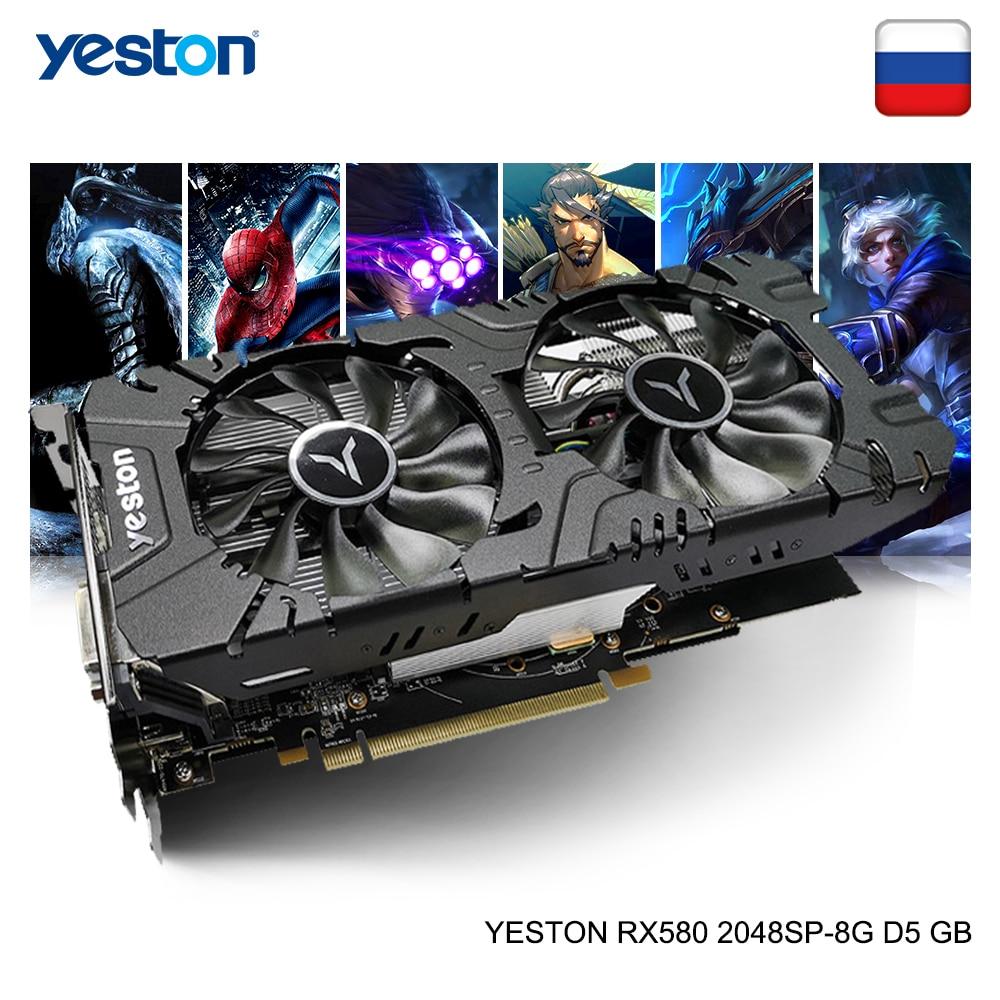 Yeston Radeon RX 580 GPU 8GB GDDR5 256bit Gaming Desktop Computer PC Video Graphics Cards Support DVI-D/HDMI/DP PCI-E X16 3.0