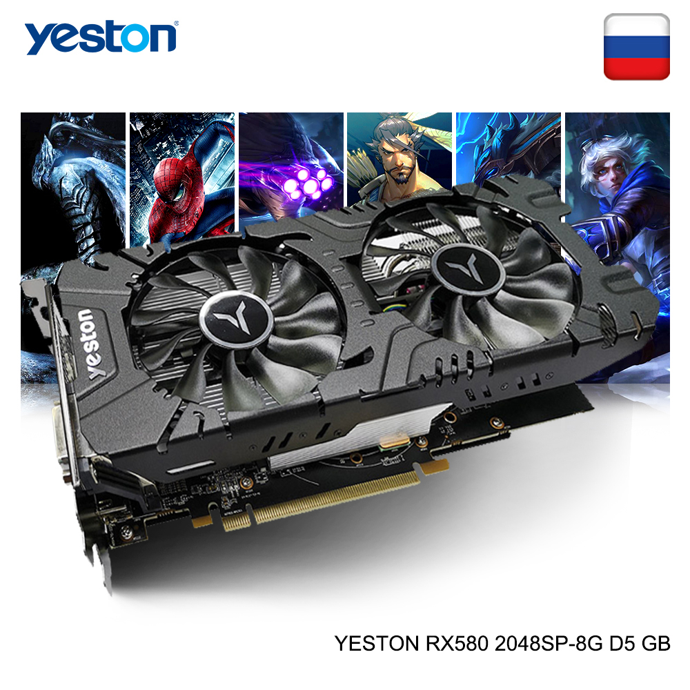 Yeston radeon rx 580 gpu 8 gb gddr5 256bit gaming desktop computador pc vídeo placas gráficas suporte DVI-D/hdmi/dp pci-e x16 3.0