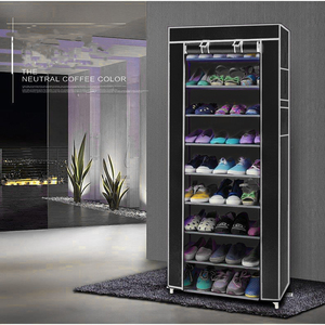 Image 2 - 9 Lattices Shoe Rack Shelf Tower Nonwoven Fabric Shoe Organizer Storage Cabinet for Shoes Saving Space Shelving   US Stock