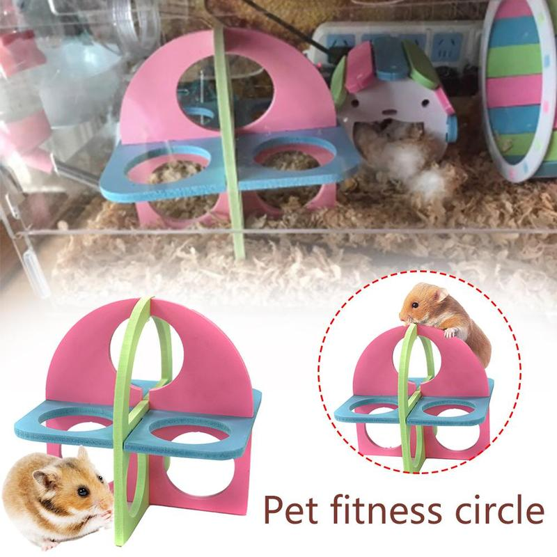 1pc Random Color Hamster Toy Fitness Circle Wooden Sports Ladder Chinchilas Hedgehog Guinea Pig Climbing Toy Small Pet Supplies