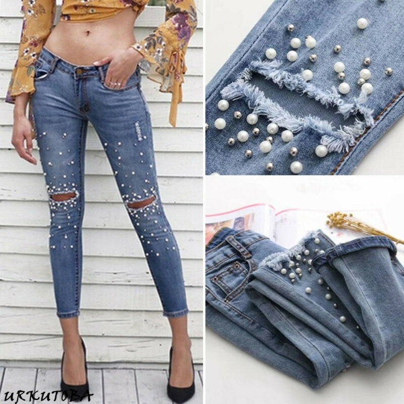 Women Fashion Slim Embroidered Nail Bead Ripped Stretch Jeans Casual Straight Jeggings Trousers Lady Ankle-length Denim Pants