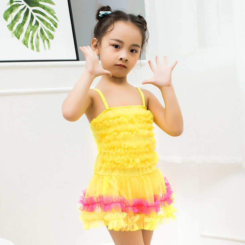 New Style Listed Girls Dress Boxers Small Camisole Swimwear Baby Bright Hot Springs Beach Swimsuit