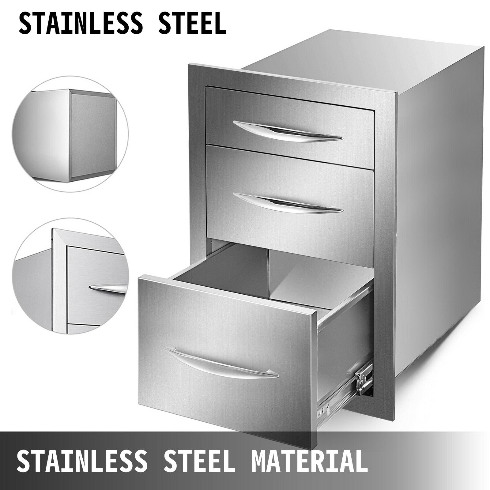 Free Shipping Outdoor Kitchen Drawer Stainless Steel Triple Access With Chrome Handle, 14 X20.25 X 23.2 Inch