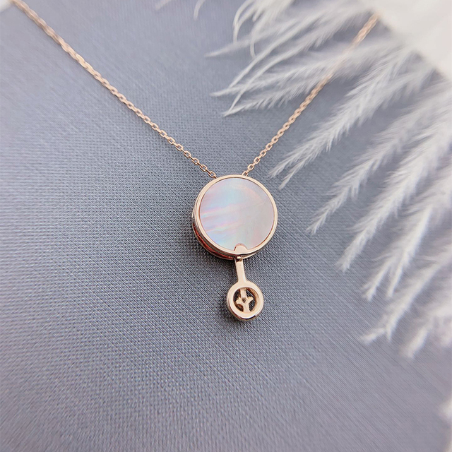ANI 18K Solid Rose Gold Pendant Necklace Real Natural Diamond Fine Jewelry Women Engagement Necklace Birthday Gift Pear Shell 3