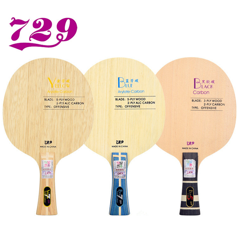 Friendship <font><b>729</b></font> Table Tennis Blade Black/ Yellow/ Blue Arylate Carbon Offensive racket ping pong bat paddle image