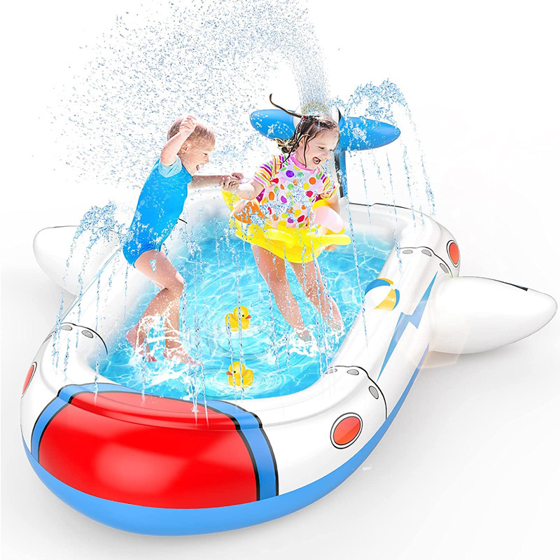 NEW Summer Pool Kids Games Fun Inflation Spray Water Cushion Mat Children Play Water Mat Outdoor Game Toy Yard Lawn