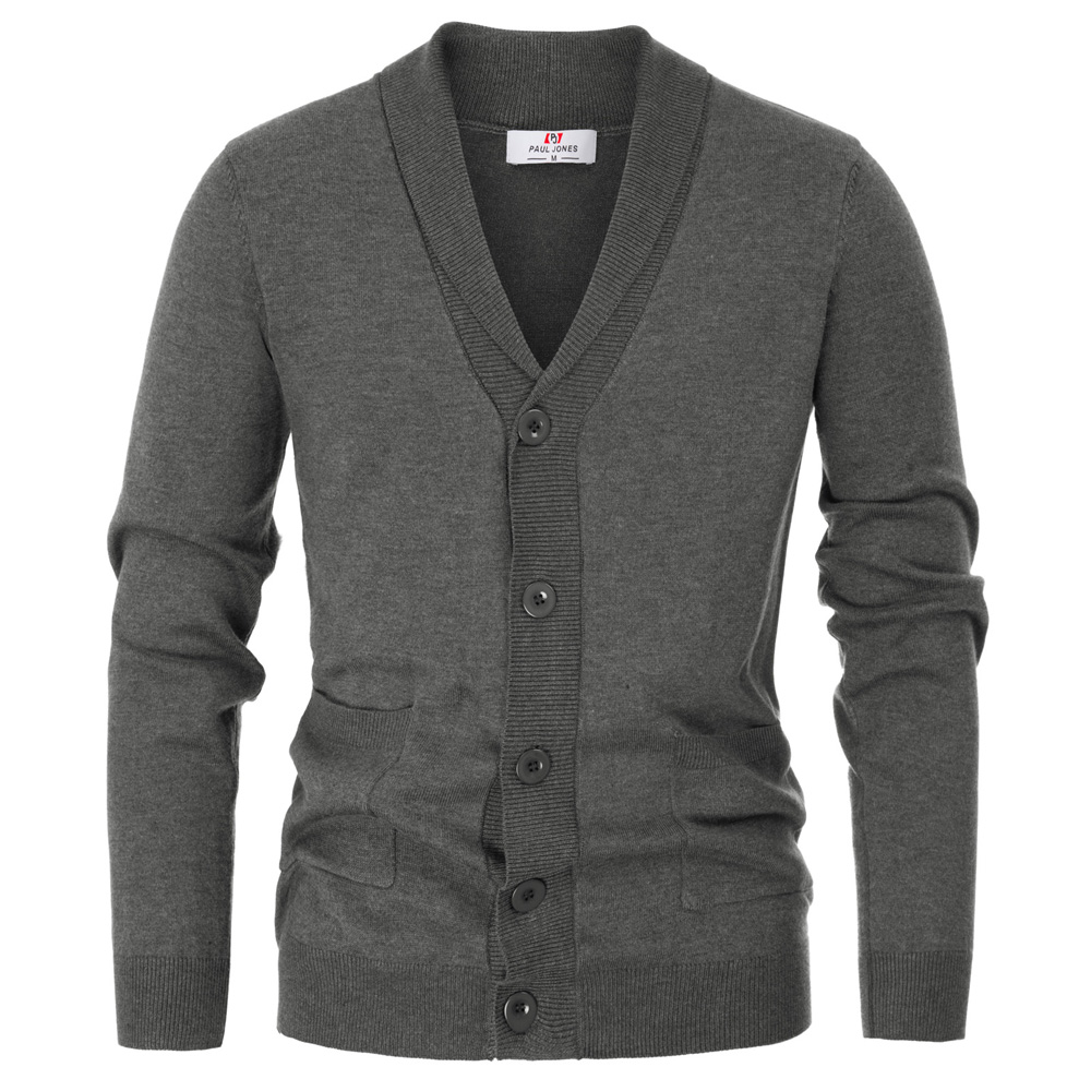 PAUL JONES Mens Stylish V-Neck Button Down 2 Pockets Cardigan Sweater Ribbed Edge