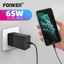 FONKEN 65W Usb C Charger Dual Port Qc3.0 Type C Pd Charger Fcp Afc Scp Mtk Multi-Protocol Fast Charging Adapter for Phone Tablet