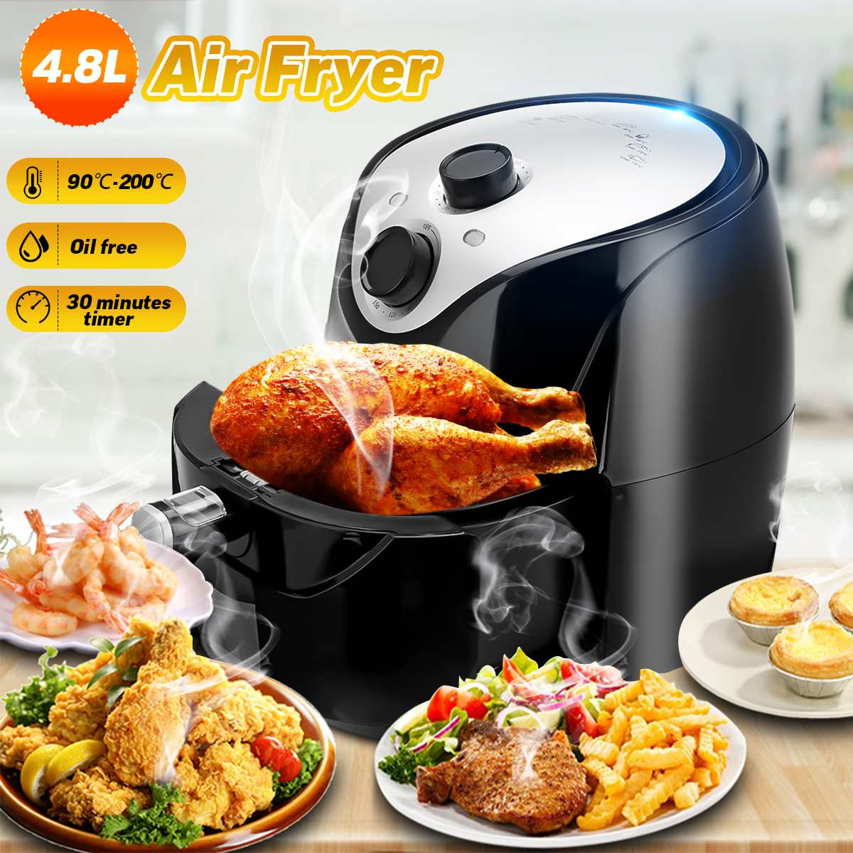 4.8L Air Fryer Electric Deep Fryer 1500W 220V Health Chip Oil Free Oven Cooker Timmer Control Multi-function Non-stick Pot