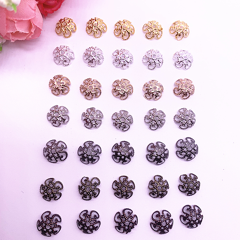150pcs/lot 8/10mm Silver Gold Plated Hollow Flower Petal End Spacer Beads Caps Charms Bead For Jewelry Making Accessories