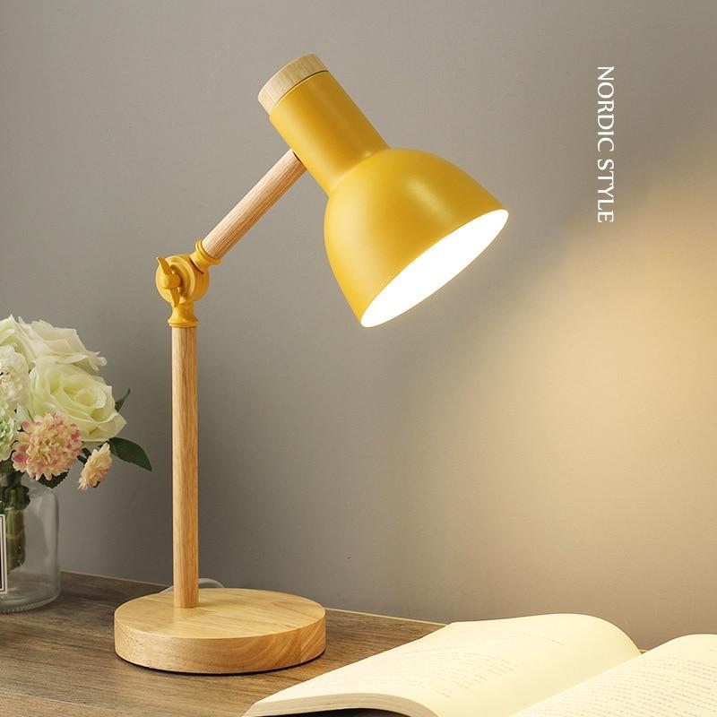 Creative Nordic Wooden Art Iron LED Folding Simple Desk Lamp Eye Protection Reading Table Lamp Living