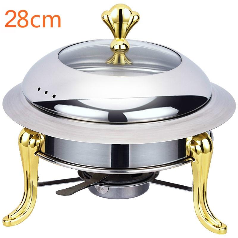 Porte-casserole en verre trempé 30cm | Ensemble de petites casseroles en acier inoxydable, couvercle de verre trempé, plat à récurer en argent et or, plateau chauffant pour Buffet