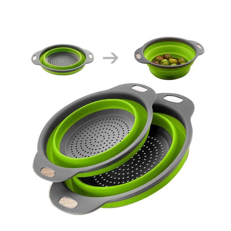 Retractable Silicone Dishwashing Drain Basket Four Colors Optional Round Size Folding Silicone Washing Basket Fruit Basket