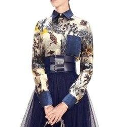 Mode Frau Blusen 2019 Frauen Seide Bluse/Hemd langarm satin Bogen Blume Tier Druck Stickerei Elegante Böhmen shirt