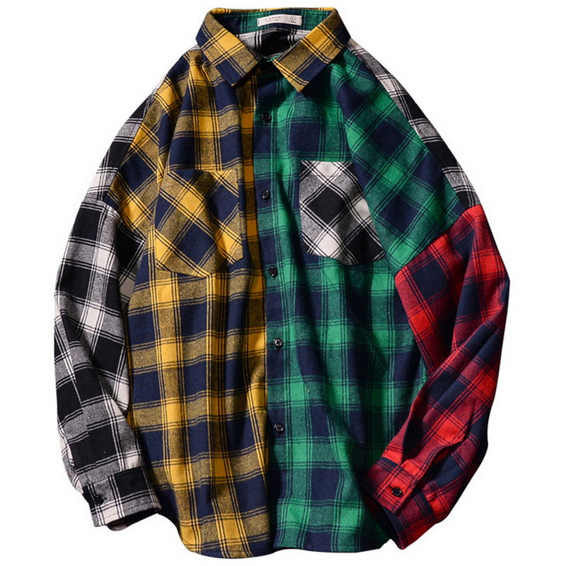 HIP HOP Streetwear Patchwork PUNK Casual Plaid Shirt Men Long Sleeve High Quality 2020 Loose Spring Autumn()