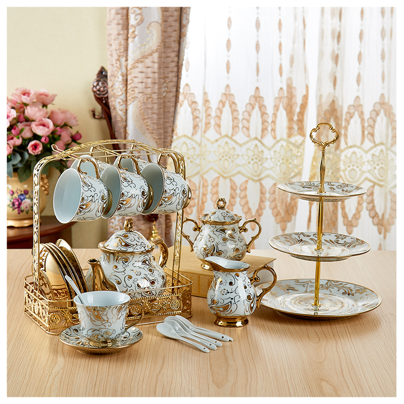 Europe Coffee Cups Set Golden Decal Parrten Ceramic Pot Teapot Set Coffee Cup British Porcelain Tea Set Afternoon Tea Party