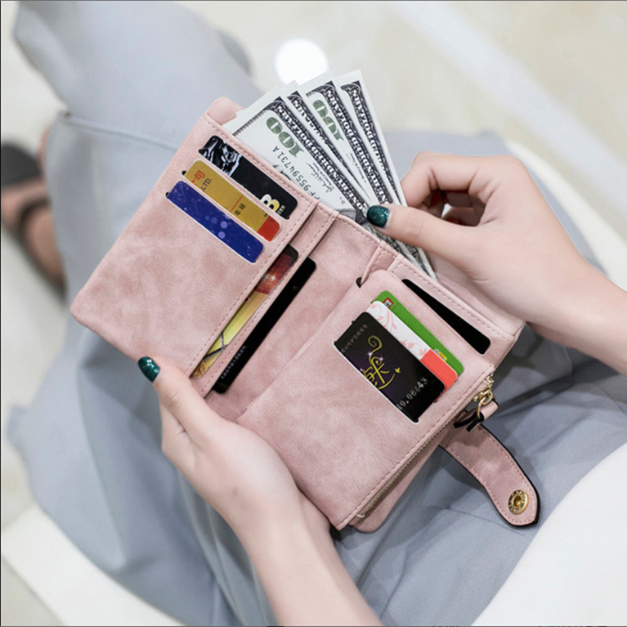 Ladies Snap Fasteners Zipper Short Clutch Wallet Fashion Small Women Wallet Short Wallet Retro Matte Leather Ladies Wallet