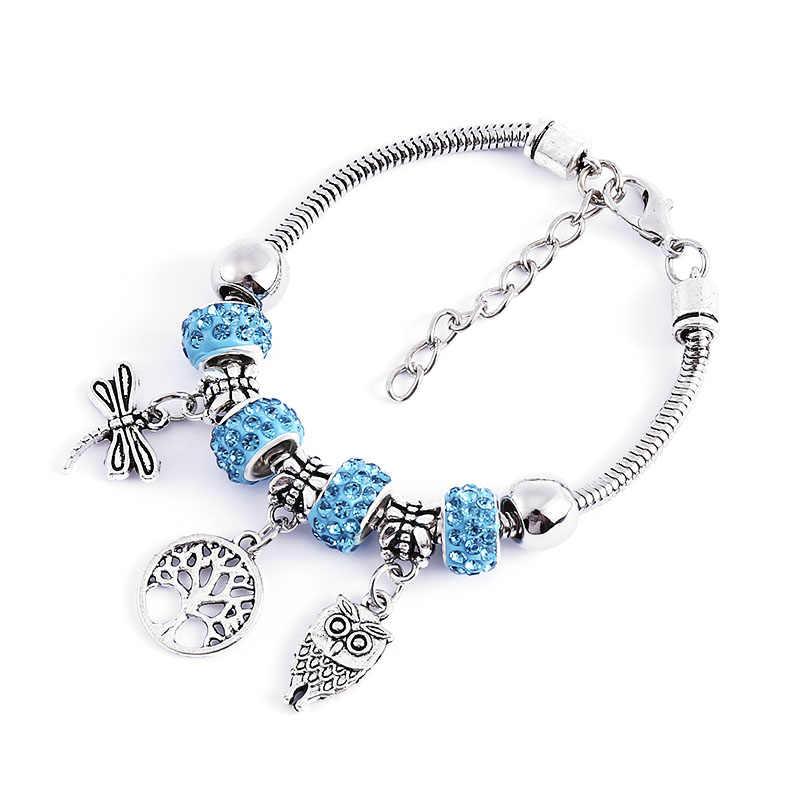 Ważka wisiorek początkowe bransoletki dla kobiet regulowany otwarty bransoletka boho drzewo życia bransoletka urok punkt wiertła dziewczyna biżuteria prezent
