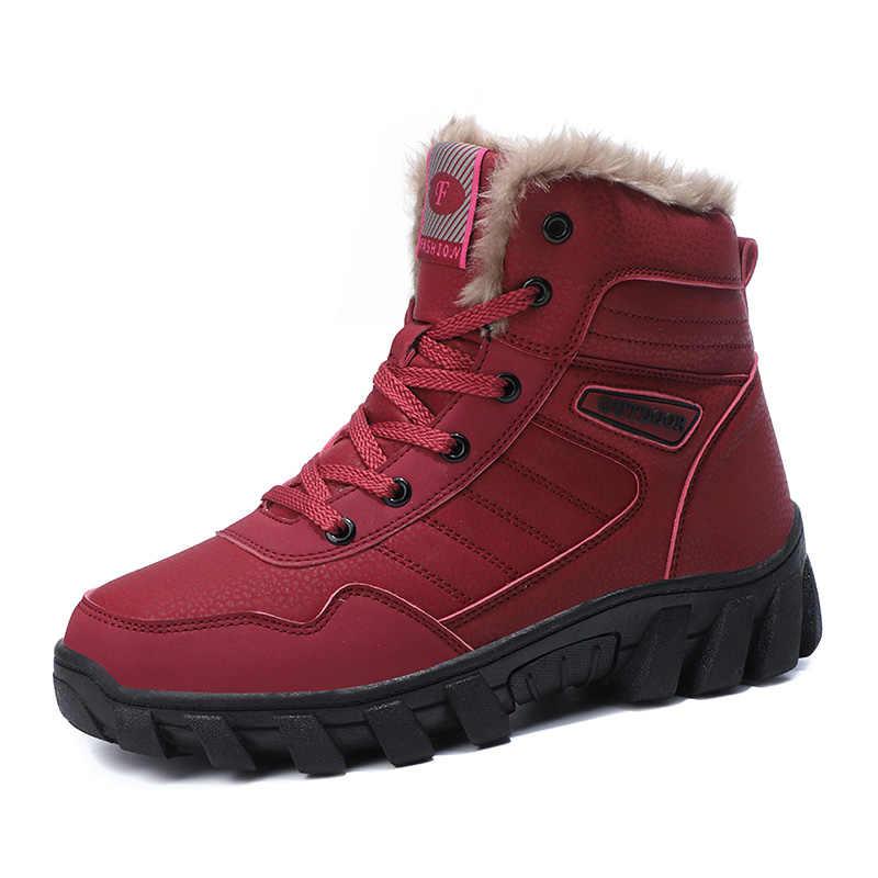 Coturno Leather Men Snow Boots Warm Snow Boots Winter Work Unisex Non Slip Fur&Plush Lace Up High Top Fashion Men Boots Big Size