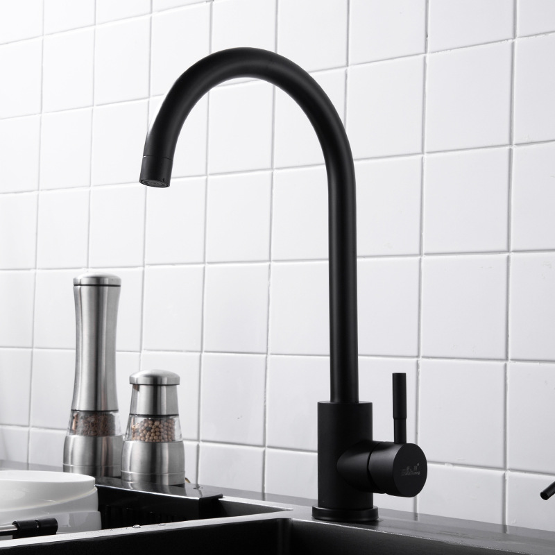 304 Stainless Steel Cold Washing Basin Single Bore Black Retro Washing Basin Tap Sink Faucet
