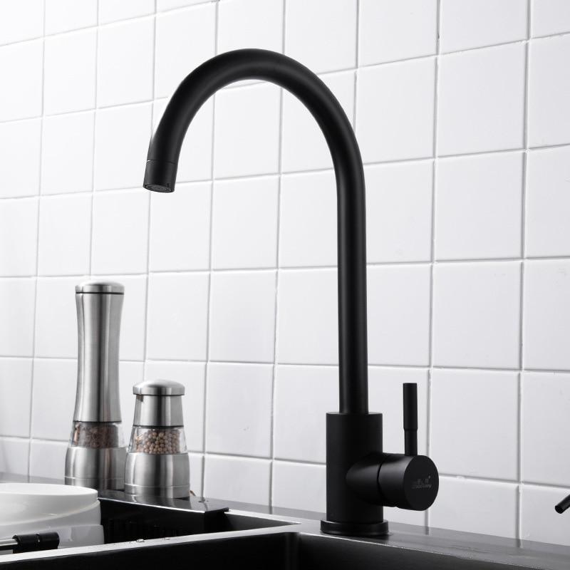 304 Stainless Steel Cold Washing Basin Single Bore Black Retro Washing Basin Tap Sink Faucet