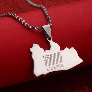 LIBERIA Map Flag Gold Color Charms Pendant Necklaces Liberians Jewellery Middle East image