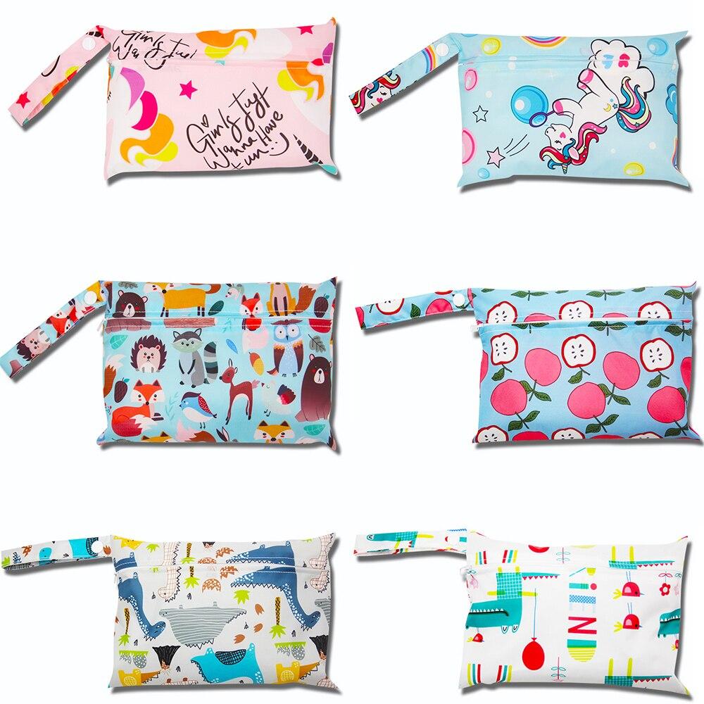 Waterproof Wet Bag Baby Cloth Diaper Bags Reusable Baby Nappy Travel Wet Bag Menstrual Pads printed diaper Stroller Bags 22*15CM