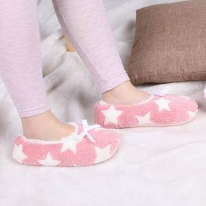 Women Slippers Short Indoor Shoes Plush Pink Cotton Cute Warm Floor Soft Star Large Loves