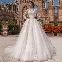 Traugel High Neck A Line Lace Wedding Dresses Applique Long Sleeve Pearls Button Bride Dress Chapel Train Bridal Gown Plus Size