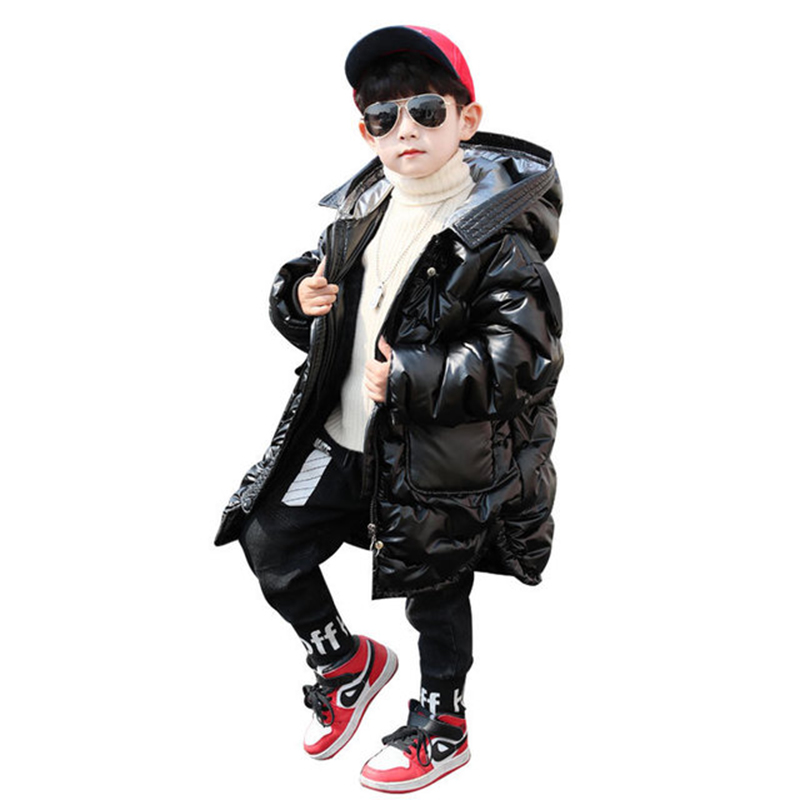 Rlyaeiz 2019 Fashion Winter Jackets Parka For Boys Coats Glossy Pure Color 80% Down Boys Jackets Thicken Warm Children Clothes