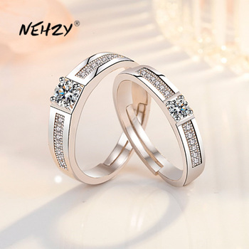 NEHZY 925 Sterling Silver New Woman Fashion Jewelry High Quality Retro Simple Crystal Zircon Couple Ring Adjustable Size 1