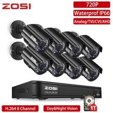 ZOSI 8 Channel 720P Surveillance TVI Hybrid DVR Kit IR Nightvision Security Bullet Camera Video CCTV System Email Alert 1TB HDD