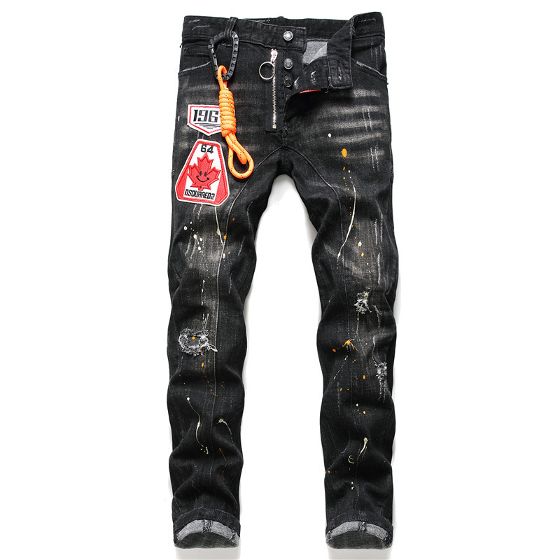 European American Dsq Brand Jeans Men Slim Jeans Pants Mens Black Denim Trousers Zipper Blue Hole Pencil Pants Jeans For Men