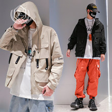 Mannen Mode Losse Effen Safari Stijl Jas Casual Zakken Patchwork Hip Hop Jas Met Capuchon(China)