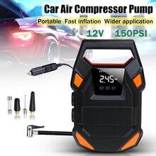 12V 150 PSI HF DC Digitale Tragbare Mini Auto Rad Reifen Aufblasbare Pumpe Luft Kompressor Elektrische Aufblasen Maschine Düse