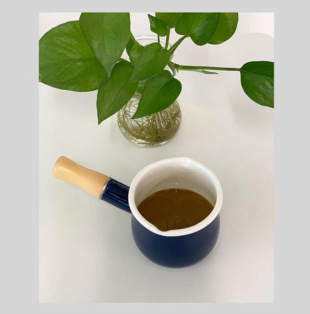 Casserole à un manche en bois | Poêle à lait en émail, casserole Pour chauffage du beurre et du café, cuisine, Double buse Pour le thé, Pot de cuisson de 550ml