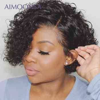 Short Curly Bob Wig Short Curly Human Hair Wigs Bob Lace Front Wigs 180 Denisty Deep Part 13x4 Lace Front Human Hair Wigs Remy