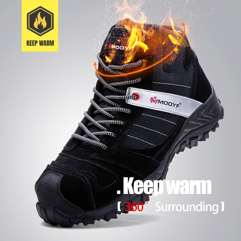 LARNMERN Men Winter Warm Steel Toe Cap Work Safety Shoes Outdoor Ankle Boots Fashion Puncture Proof Footwear