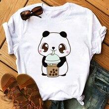 Carino T Camicette Donne Streetwear Panda Grafici Magliette Moda Tè Al Latte Stampato Donne Magliette E Camicette Divertente Vintage Femminile Maglietta, nave di goccia