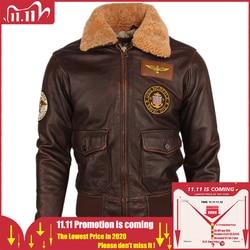 Vintage Distressed Men Leather Jacket Quilted Fur Collar 100% Calfskin Flight Jacket Men's Leather Jacket Man Winter Coat M253