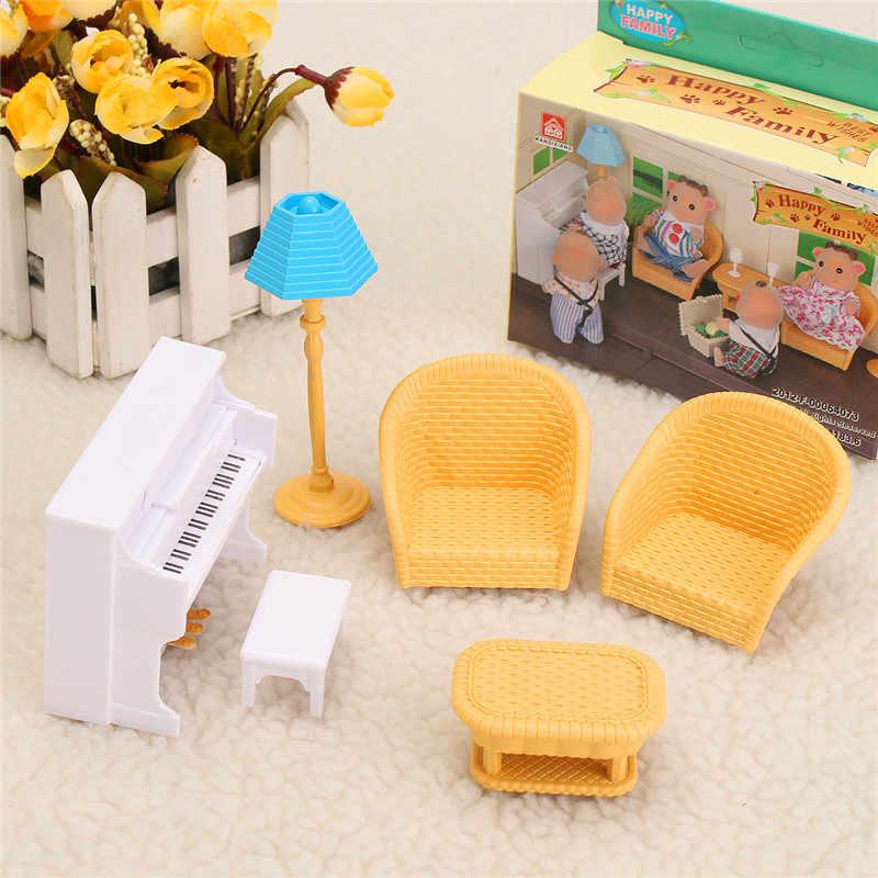 เด็กเล่นของเล่นตกแต่งเด็กของเล่นตุ๊กตา DIY Miniature บ้านตุ๊กตาชุดเฟอร์นิเจอร์ห้องครัวห้องนั่งเล่นโซฟาห้องน้ำ